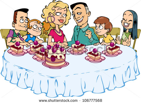 Happy Family Of Six People Sitting At The Table And Eat Cake   Stock