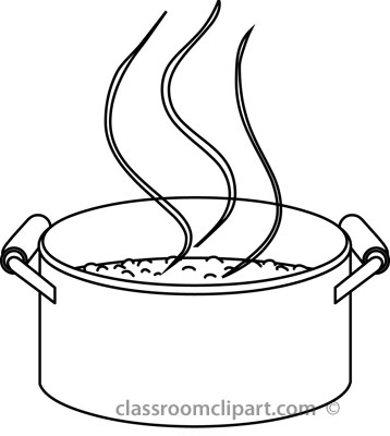 Pan Black And White Clipart Food Cooking Saucepan Outline