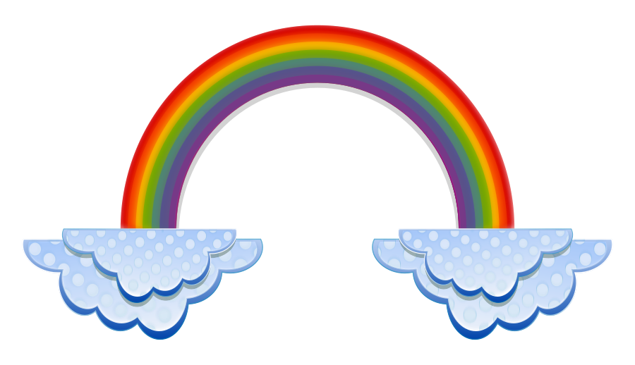 Rainbow With Clouds Black And White Clipart - Clipart Kid