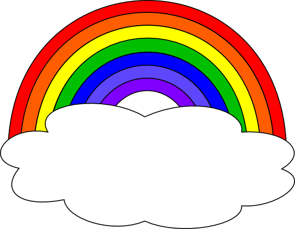 Rainbow With Single Cloud Clip Art At Clker Com   Vector Clip Art