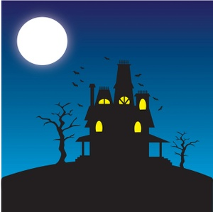 Scary Full Moon Clipart Haunted House Clipart Image