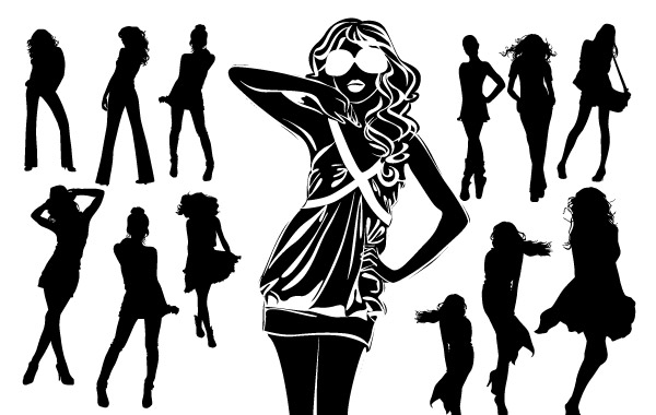 Silhouettes Of Beautiful Women In Vector Format Vector Free Vectors