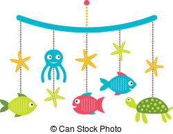 Baby Arrival Or Shower Card Crib Mobile With Sea Animals Clip Art