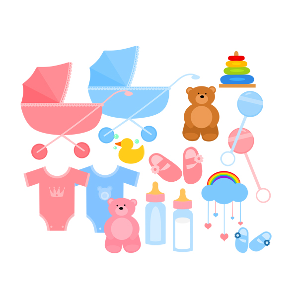 Baby Carriage Booties Baby Bottle Teddy Bear Toys Digital Clipart