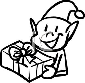 Black And White Christmas Elf Holding A Present   Royalty Free Clipart