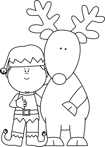 Black And White Elf And Reindeer Clip Art   Black And White Elf And