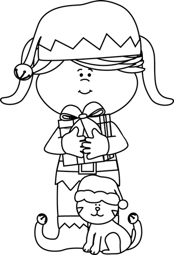 Black And White Girl Elf With Cat Clip Art   Black And White Girl Elf