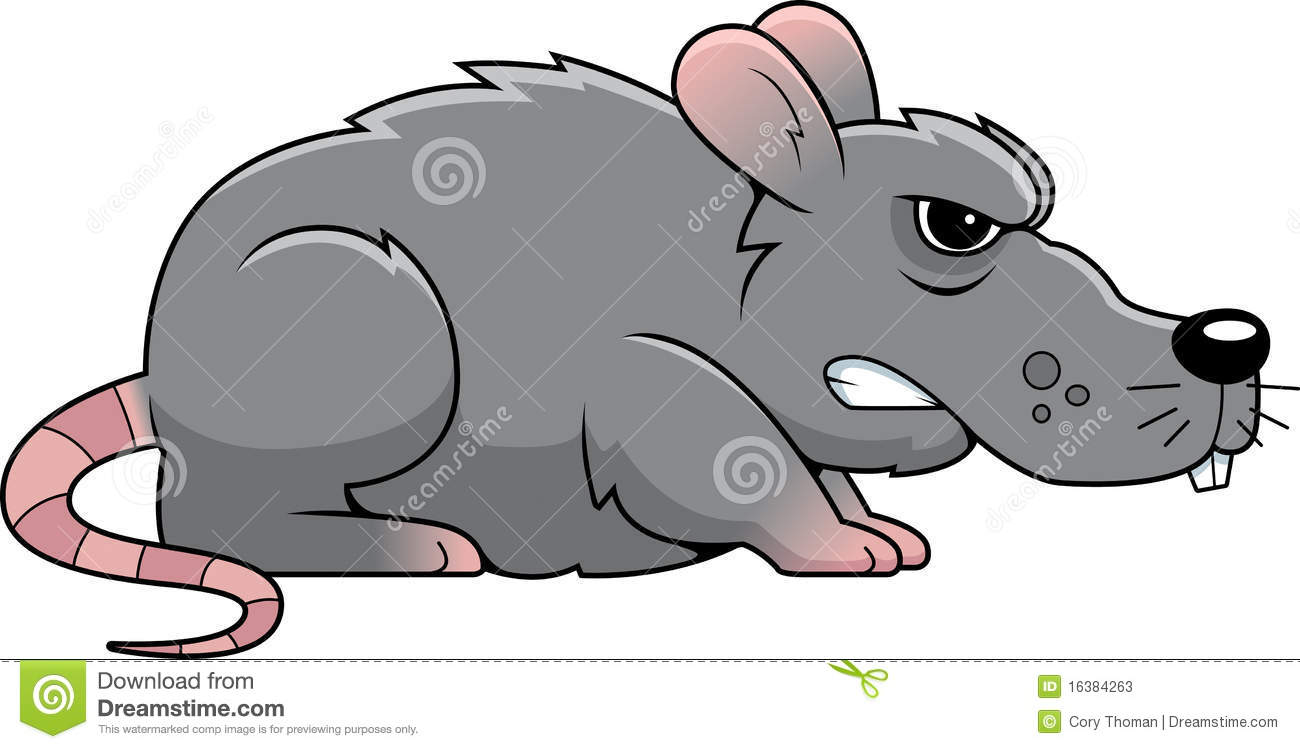 Cartoon Gray Rat With An Angry Expression