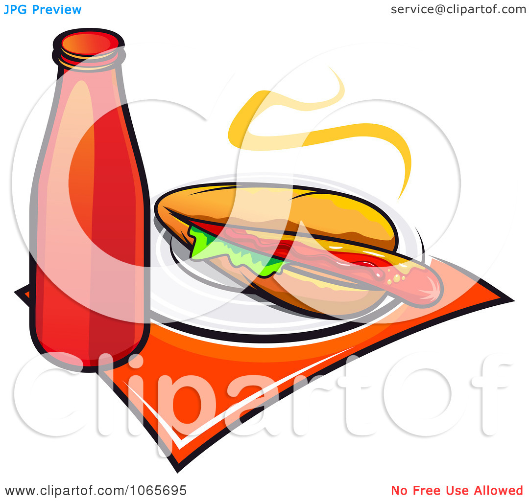 Clipart Long Hot Dog And Ketchup   Royalty Free Vector Illustration By