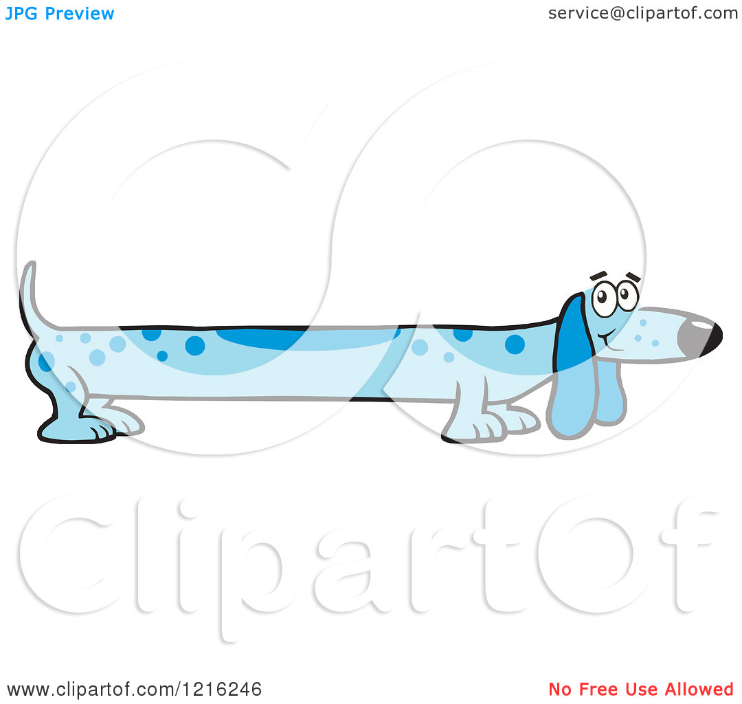 Clipart Of A Long Blue Dog   Royalty Free Vector Illustration By