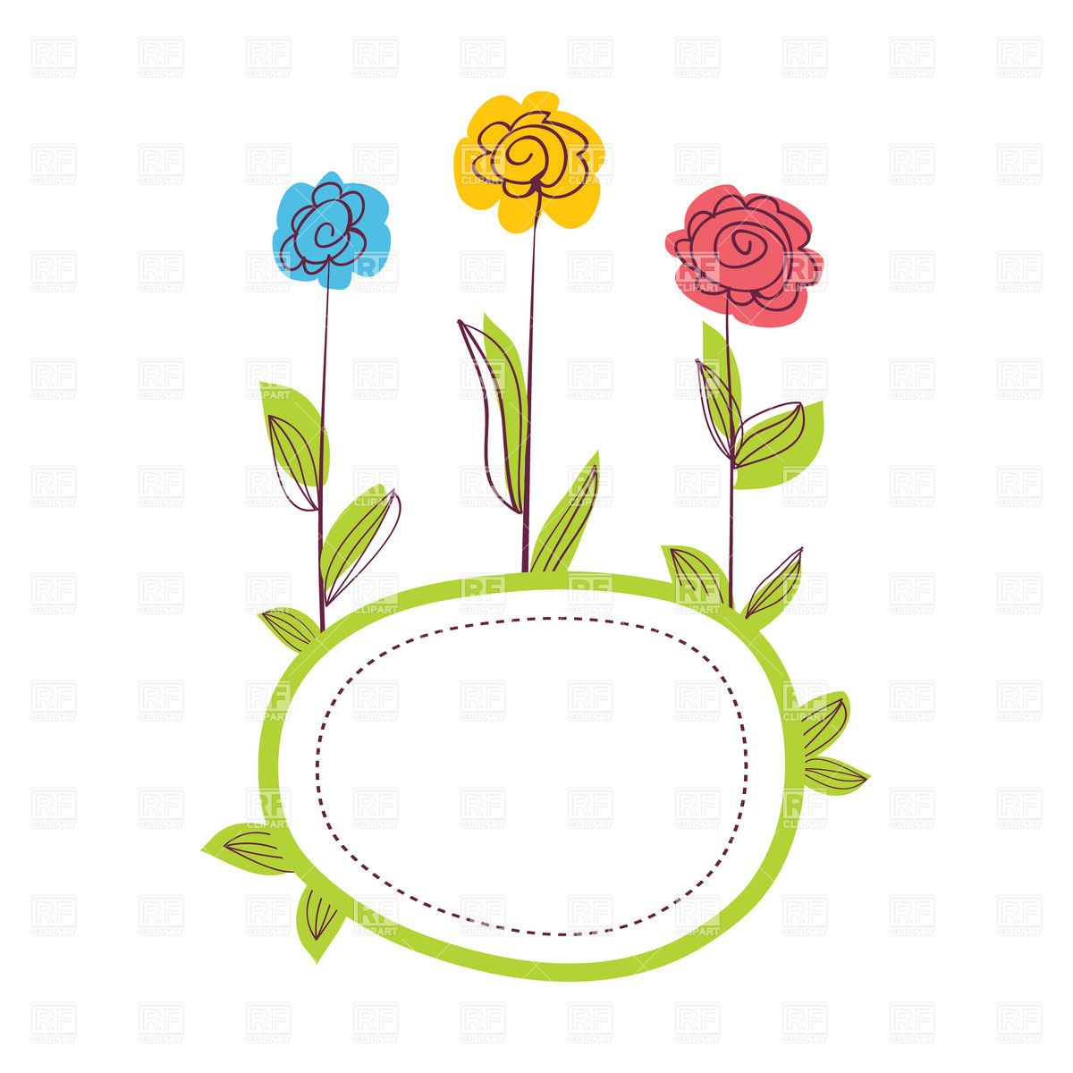 Cute Green Frame Decorated With Three Hand Drawn Flowers Download