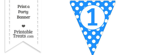 Dodger Blue Polka Dot Pennant Flag Number 1 Free