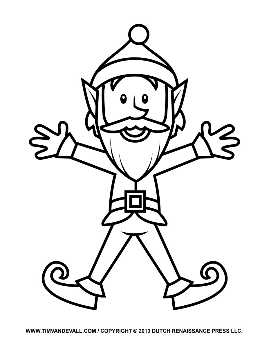 Elf Colouring Pages  Page 3