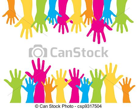 Eps Vector Of Cute Hands   Colorful Silhouette Hands Over White