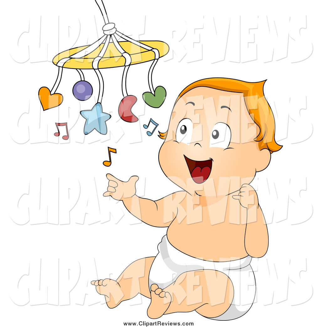 Larger Preview  Clip Art Of A Baby Playing With A Mobile By Bnp Design