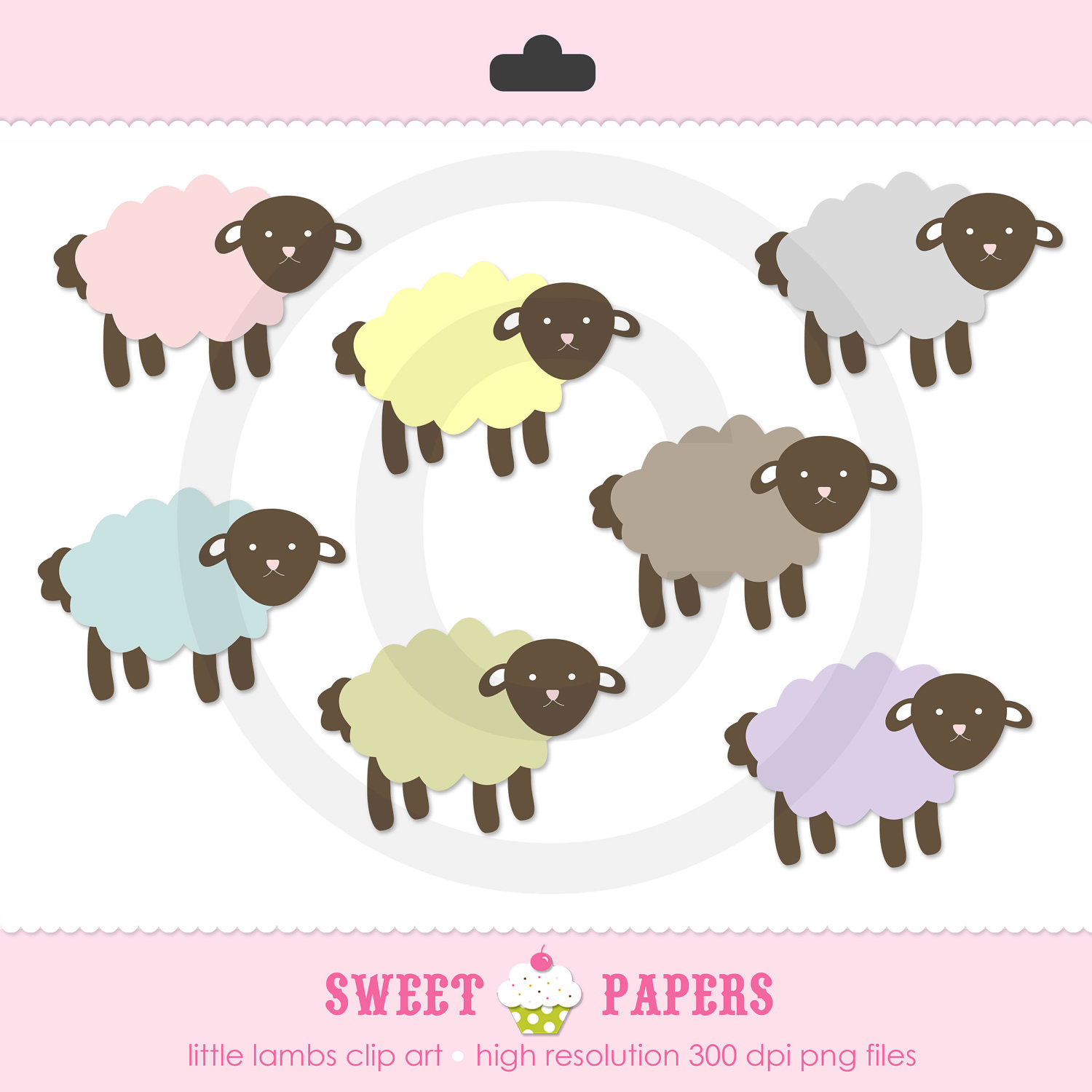 Little Lambs Clip Art Set Commercial Or Personal By Sweetpapers