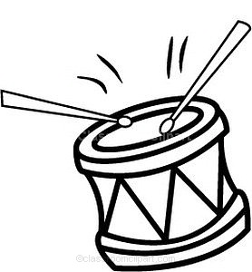 Drum Black And White Clipart - Clipart Kid