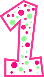 Number 1 Pink And Green Polkadot Clip Art At Clker Com   Vector Clip