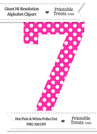Pink Polka Dot Number 1 Polka Dot Number 7 Clipart