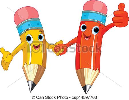 Two Cute Pencils Holding Hands Csp14597763   Search Clipart