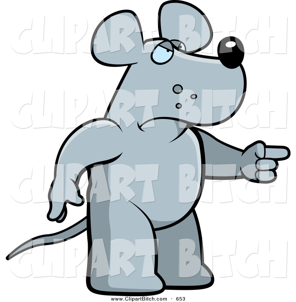 Vector Cartoon Art Of A Mad Rat Pointing To The Right By Cory Thoman