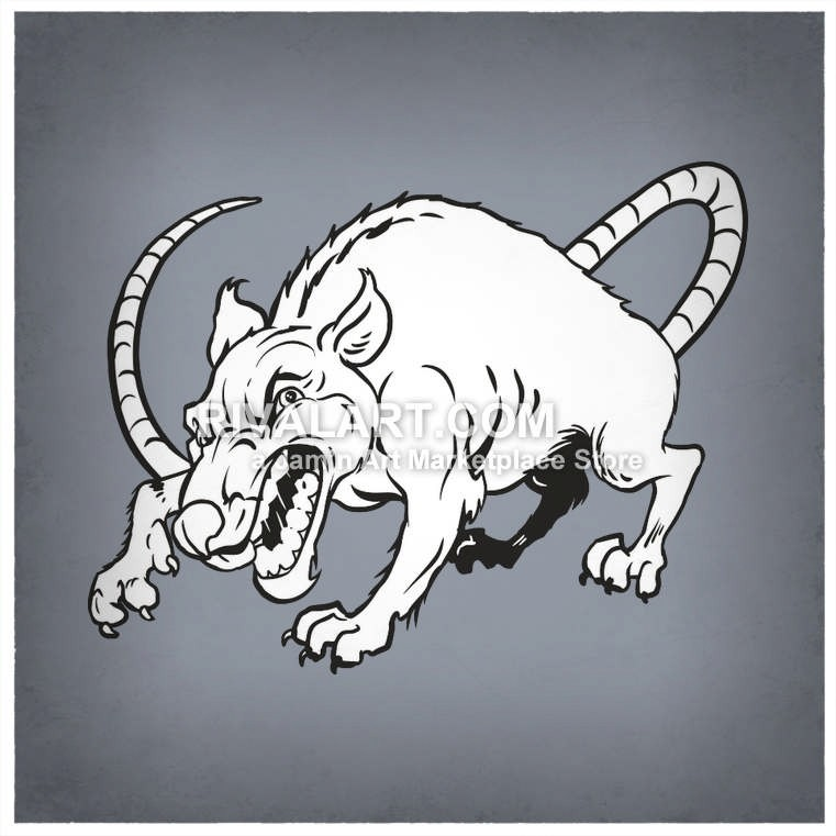 Vector Clipart Of A Mean Rat Graphic