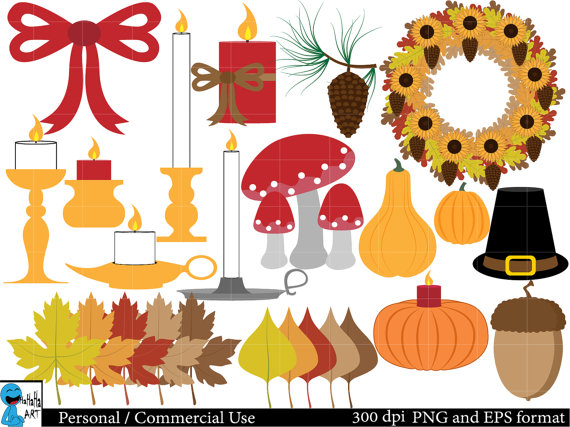Autumn And Fall Decorations Set Clipart   Digital Clip Art Graphics
