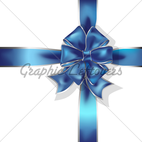 Blue Gift Ribbon And Bow Vector Object   Gl Stock Images