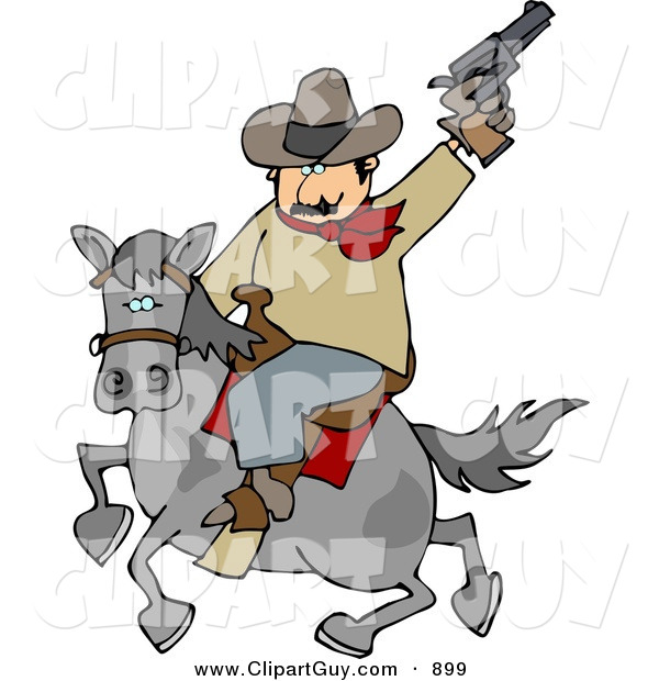 Clip Art Of A Silly White Cowboy Riding Horse While Pointing And