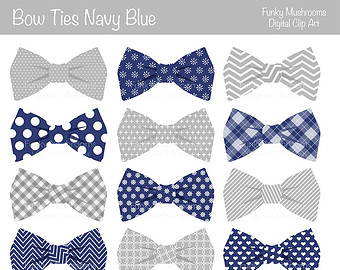 Digital Clipart   Bow Ties Navy Blu E Grey For Scrapbooking