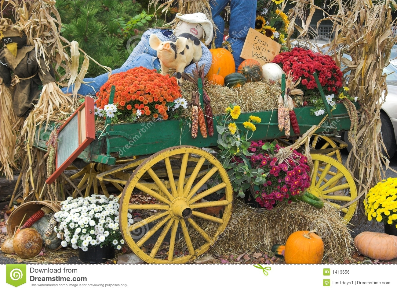 Fall Harvest Is Here With Lots Of Scarecrow People Fall Flowers
