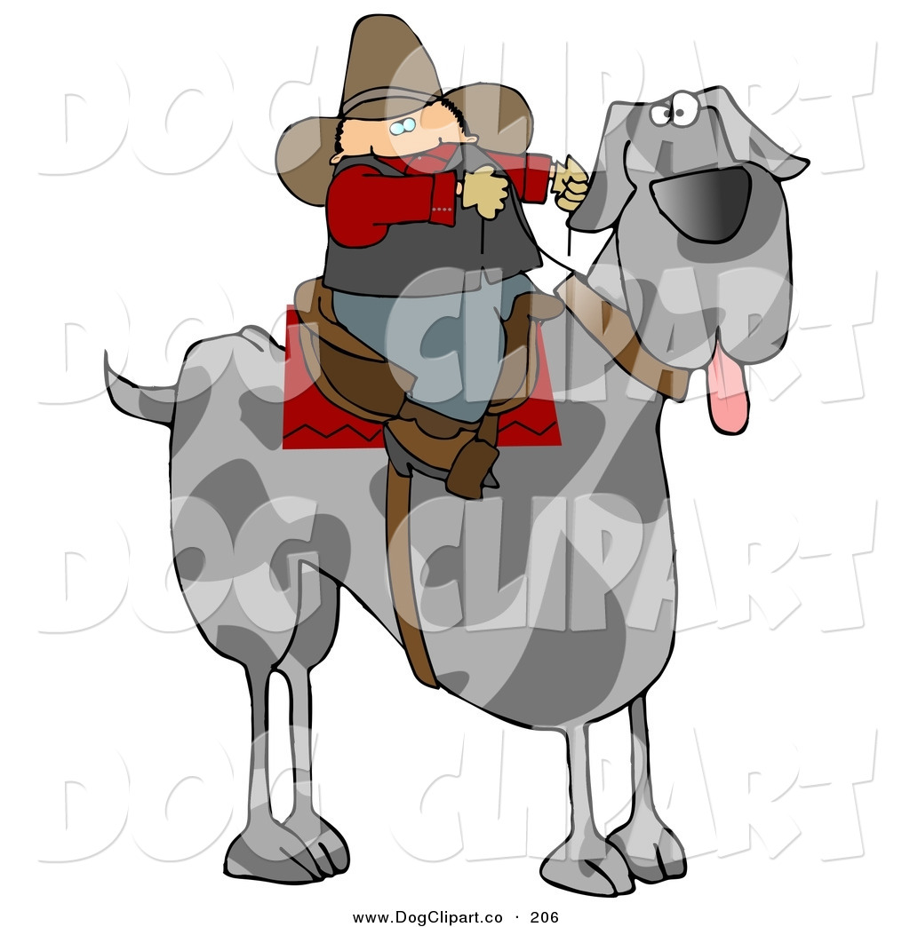 Larger Preview  Clip Art Of A Silly Cowboy Guy Riding A Giant Great