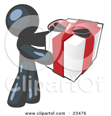 Thoughtful Navy Blue Man Holding A Christmas Birthday Valentine S