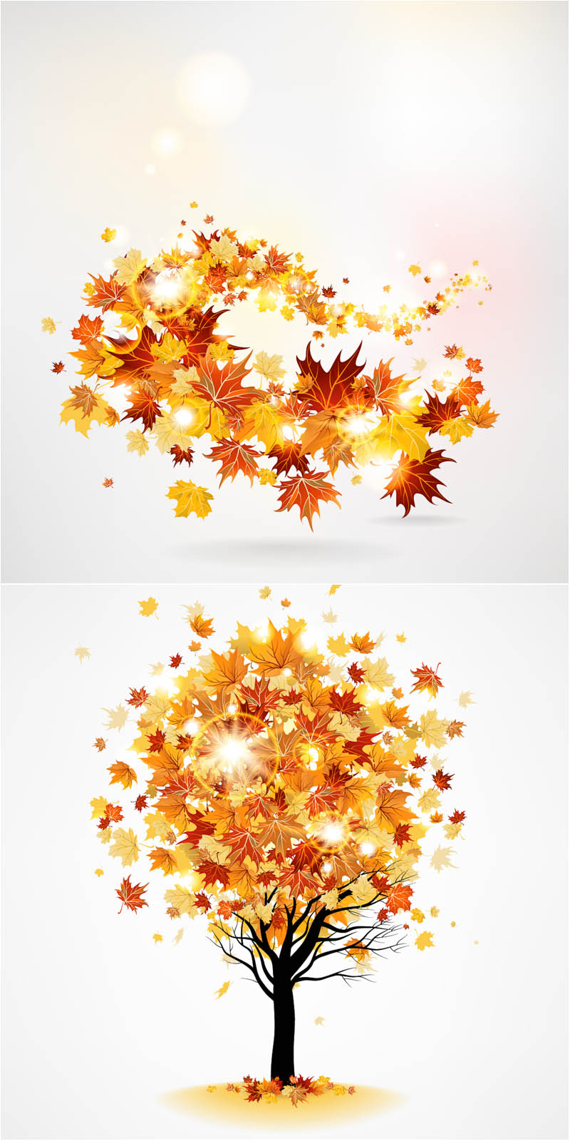Tree And Fall Leaves Swirl For Your Seasonal Designs And Decorations