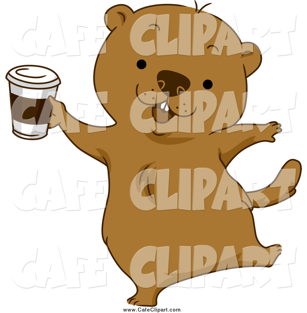 Vector Cartoon Clip Art Of A Happy Groundhog Dancing With Coffee By
