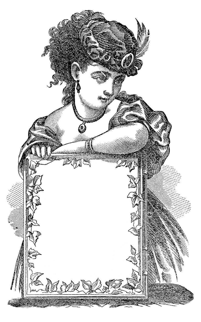 Antique Clip Art   Victorian Lady With Sign   Label   The Graphics