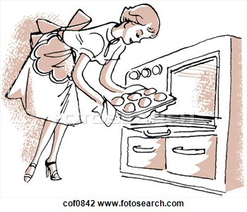 Art Of A Vintage Illustration Of A Woman Removing Buns From The Oven