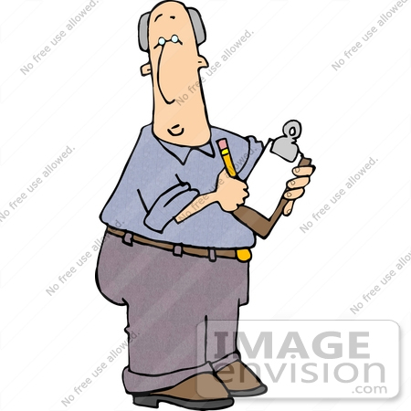 Caucasian Inspector Man Writing Notes On A Clipboard Clipart By Djart