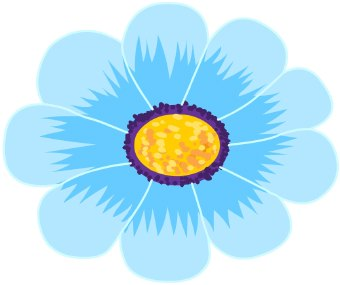 Clip Art Of A Daisy Flower With Blue Petals