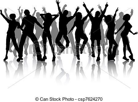 Clipart Of Group Of Party People   Silhouettes Of Lots Of People