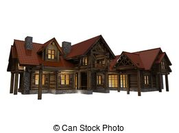 Log House Illustrations And Clipart