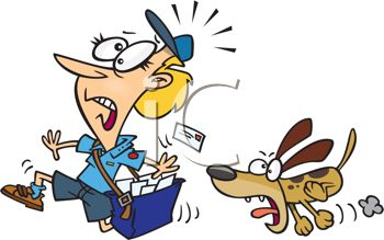 Mail Lady Being Chased By A Barking Dog   Royalty Free Clipart Image