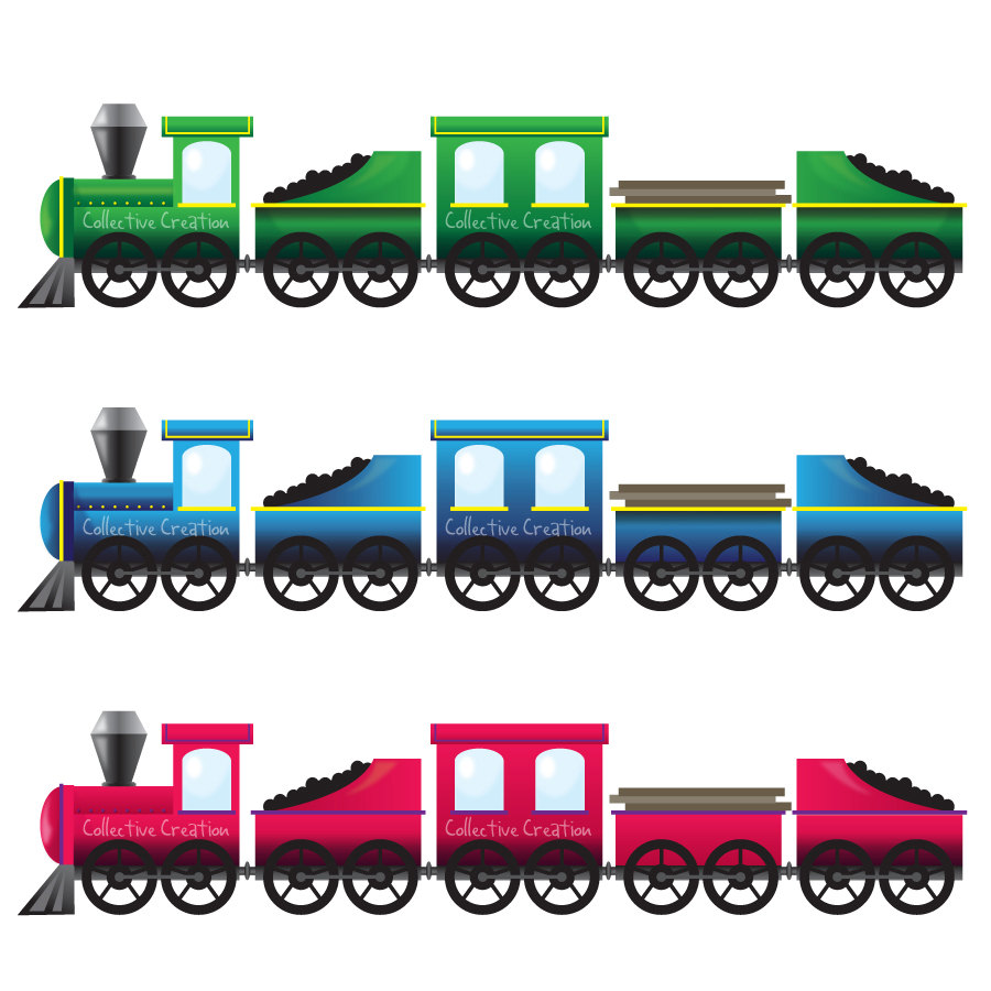 Pink Blue And Green Trains Digital Clipart By Collectivecreation