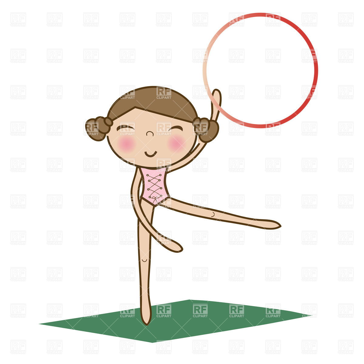 Pretty Little Girl Doing Gymnastics Using Hoop Over White On The Green