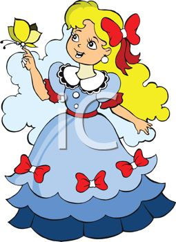 Pretty Little Girl Dressed As A Southern Belle   Royalty Free Clipart