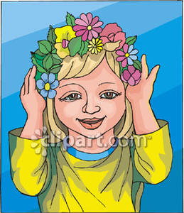 Pretty Little Girl With Flowers In Her Hair Royalty Free Clipart