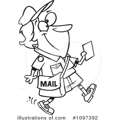 Royalty Free  Rf  Mail Man Clipart Illustration By Ron Leishman
