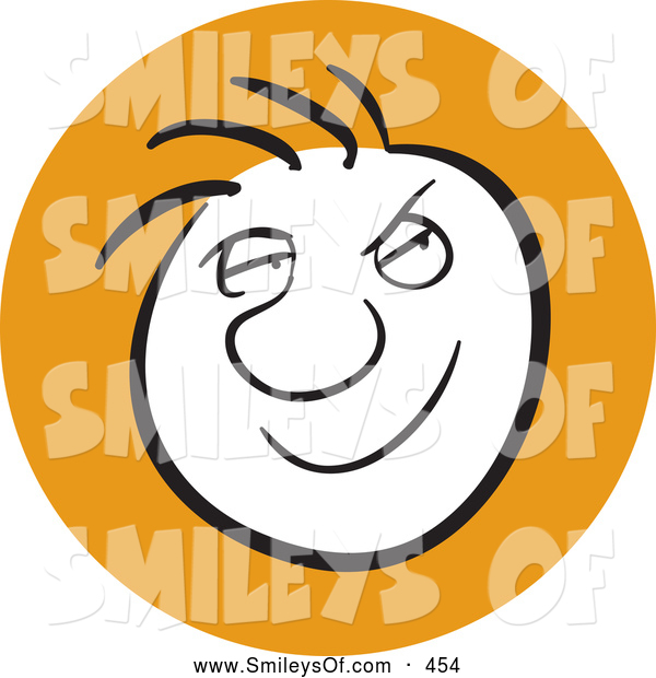 Vector Smiley Clipart Of Asmiling Man With A Sneaky Facial Expression