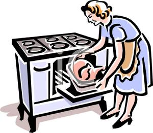 Vintage Style Woman Pulling A Roast Turkey Out Of A Wood Fired Stove