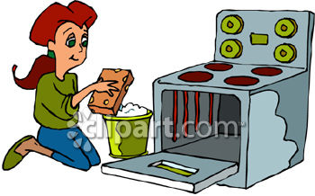 Woman Cleaning Oven   Royalty Free Clipart Image